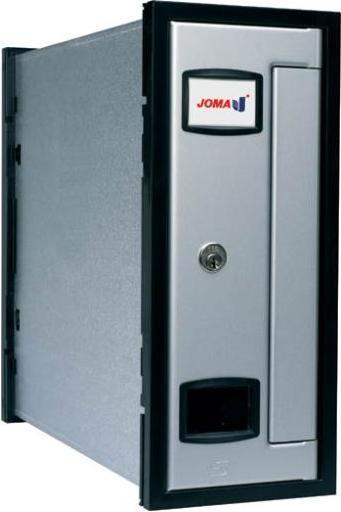 Buzón de interior - exterior, formato vertical. Modelo INNOVA SL - Fábrica JOMA. Buzón con cuerpo de chapa de acero eletrocincada y puerta de aluminio anodizado en color PLATA. Buzón ANTIVANDALICO. Tamaño revistero. Apertura lateral.