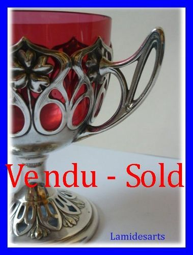 SILVER PLATED WMF BOWL RED GLASS ART NOUVEAU