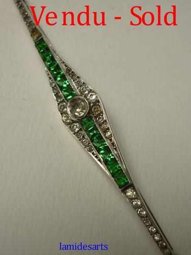 BROCHE ARGENT ART DECO STRASS 1930 - 1950