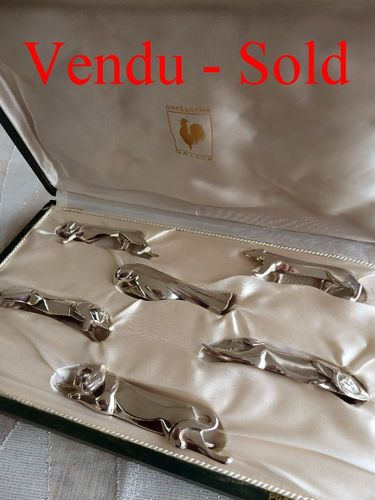 1970's GALLIA CHRISTOFLE SET 6 SILVER PLATED KNIFE REST ANIMALS SANDOZ ORIGINAL BOX