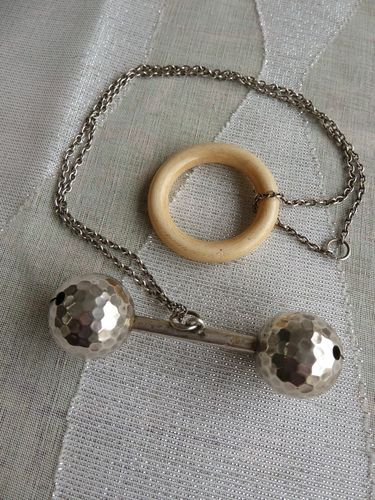 SILVER AND SOLID IVORY BABY RATTLE 1880 - 1900
