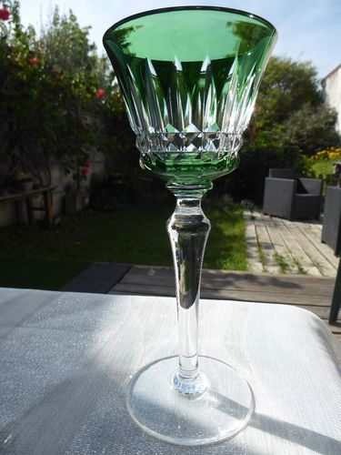 BACCARAT PICCADILLY  CRYSTAL HOCK WINE GLASS ROEMER GREEN