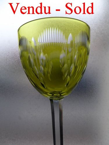 BACCARAT MOLIERE CRYSTAL HOCK WINE GLASS ROEMER LIGHT GREEN