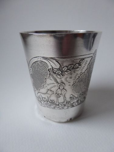RARE Solid Sterling Silver Tumbler LITTLE RED RIDING HOOD