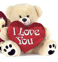 Peluche ours I love you beige 70 cm