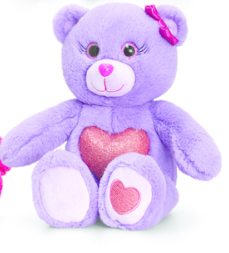 Peluche ours glitter Gems 25 cm Violet