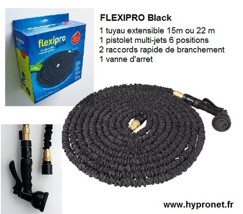 FLEXI PRO Black tuyau flexible arrosage extensible 15m