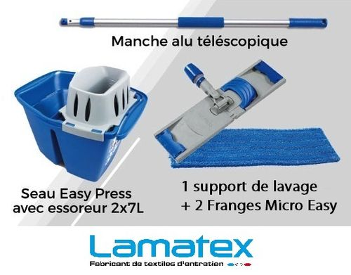 Kit Easy Press Lamatex lavage a plat des sols 2 x 7 L complet