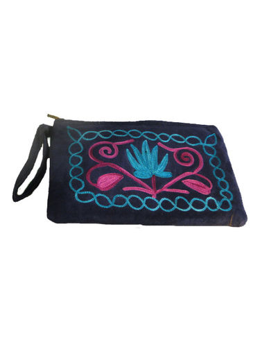 leather embroided wallet