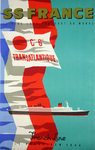 Affiche S S France  French Line  C G Transatlantique  Le Havre New York 1970 J Jacquelin