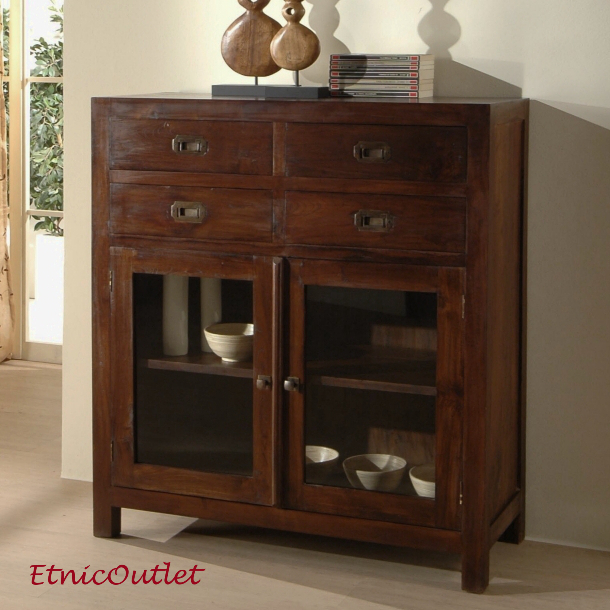 Credenza etnica coloniale vintage legno massello vetrinetta etnica chic offerta ebay for Etnico outlet