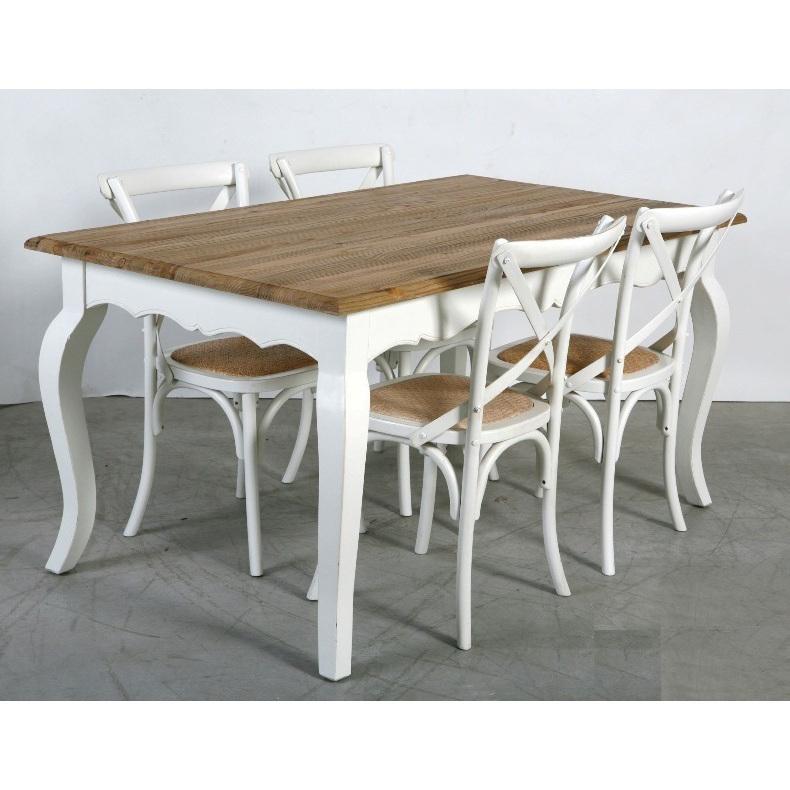 Tavolo shabby chic 160x90 4 sedie cross bianco tavoli e for Sedie cucina legno bianche