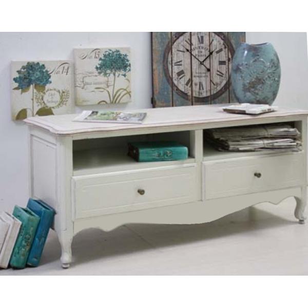 Porta tv provenzale francese legno massello bianco shabby - Outlet mobili provenzali ...