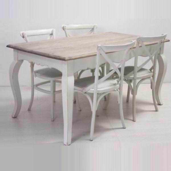 Dettagli su TAVOLO SHABBY CHIC + 4 SEDIE CROSS BIANCHE SET legno massello frassino 160x90