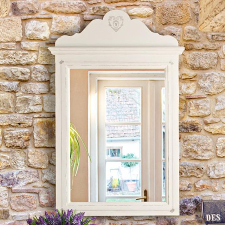 Specchio shabby chic bianco provenzale da parete legno decorato romantico ebay - Specchio shabby chic ...