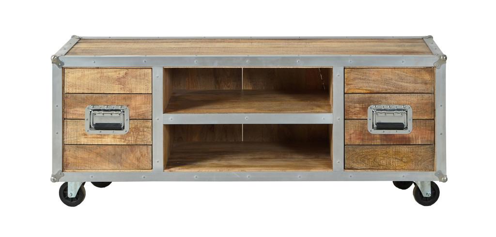 Porta tv industrial legno mango