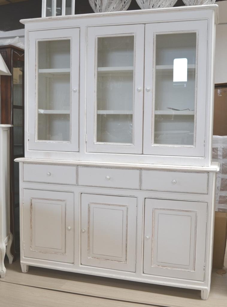 Vetrina credenza shabby chic legno bianco 145x45h195 for Vetrinette shabby ebay