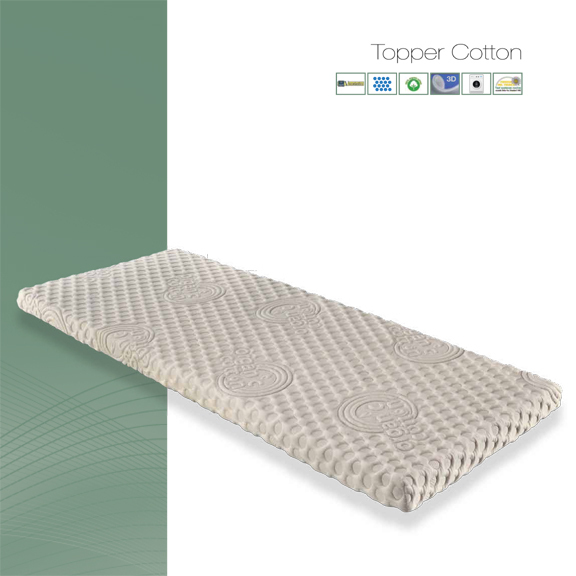 Topper COTTON Coprimaterasso Biologico Traspirante in Memory Foam