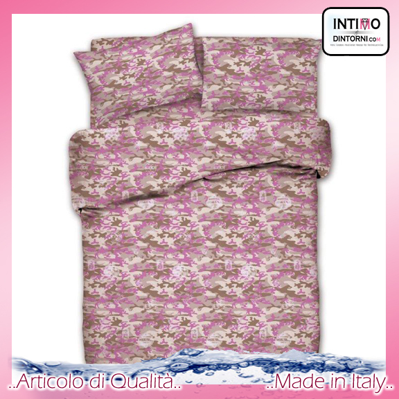 Completo Lenzuola Best Collection in Puro Cotone Militare Mimetico Rosa Svtx