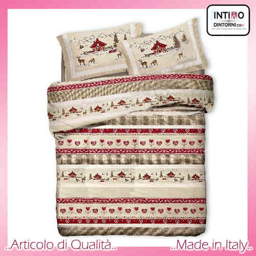 Completo Lenzuola Tipico Tirolese VAL BADIA Rosso in Puro Cotone Made in Italy