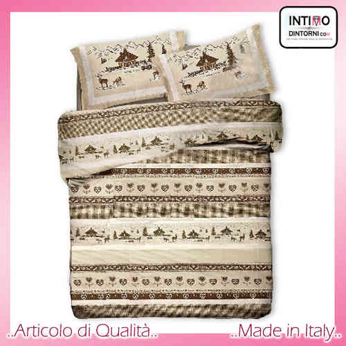 Completo Lenzuola Tipico Tirolese VAL BADIA Marrone in Puro Cotone Made in Italy