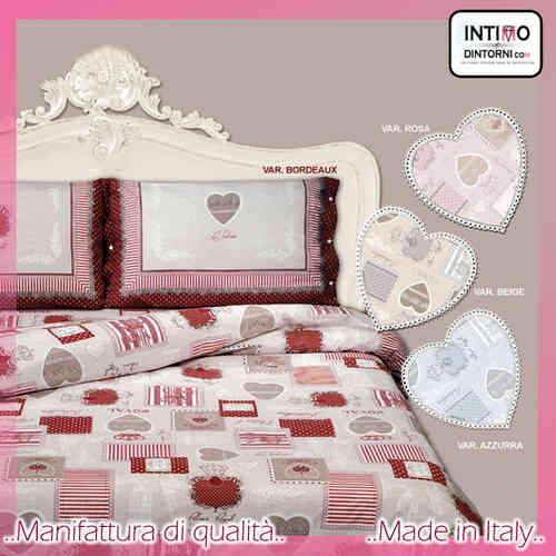 Completo Lenzuola Tipico Tirolese ROYAL Bordeaux Rosa Beige Azzurro in Puro Cotone Made in Italy