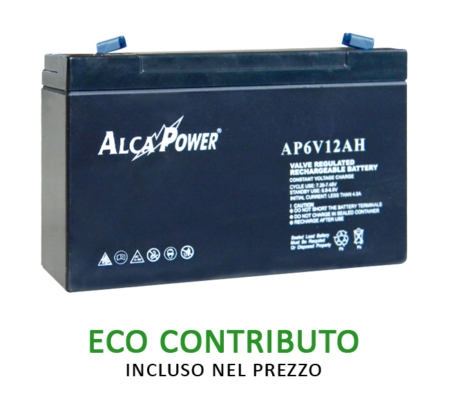 Batteria Ricaricabile Ermetica 6 V  12 Ah -  Mod. AP6V12AH Cod.204014 - AlcaPower
