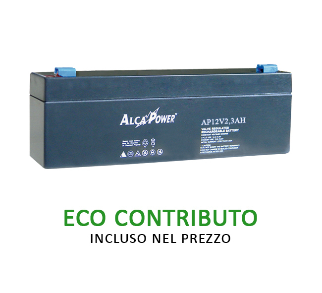 Batteria Ricaricabile Ermetica 12 V  2,3 Ah Mod. AP12V2,3AH Cod.204022 - AlcaPower