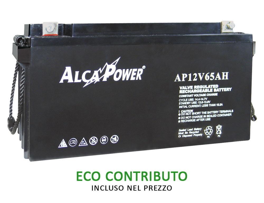 Ricaricabile Ermetica 12 V  65 Ah - Size (mm) 350x166x175(h)  Mod. AP12V65AH