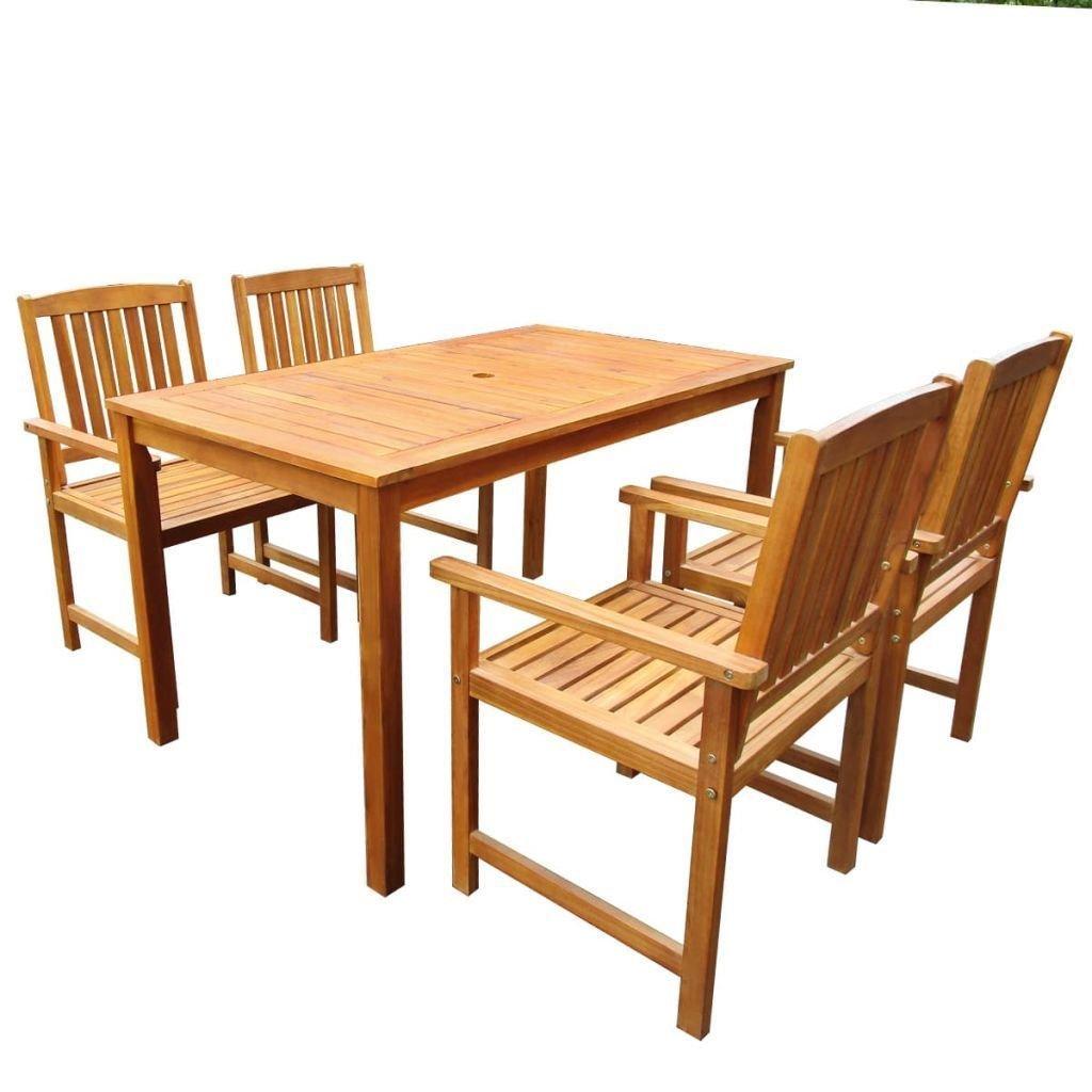 Set Tavolo E Sedie Da Campeggio.Set Da Pranzo Tavolo E Sedie In Legno Massello In Acacia 5 Pz Animalmarketonline