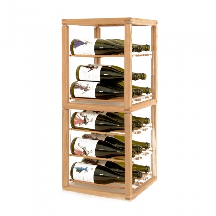 Zia Babele   Porte-bouteilles en chêne massif   Tour 2 modules
