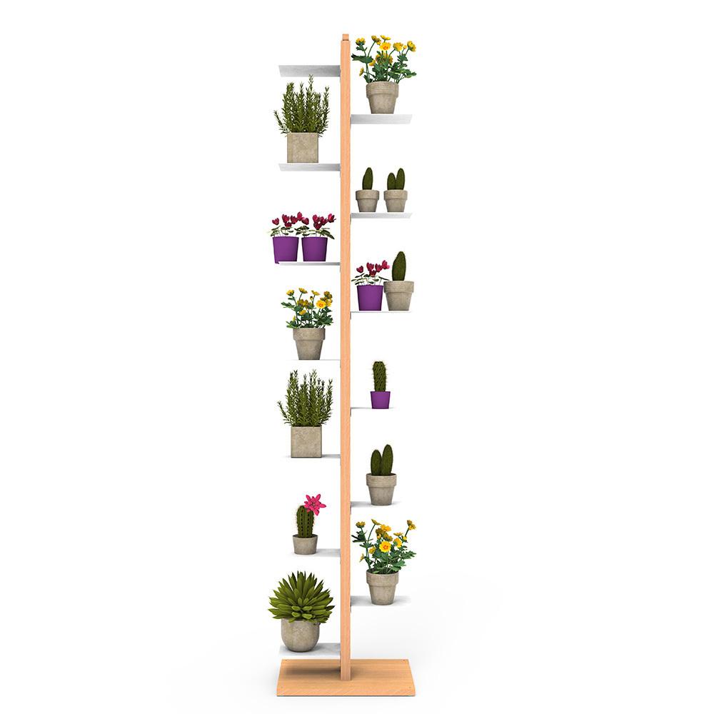 Zia Flora   portapiante a colonna   faggio naturale   h 195 cm