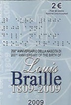 2 Euro Commemorativi Italia 2009 Louis Braille Folder
