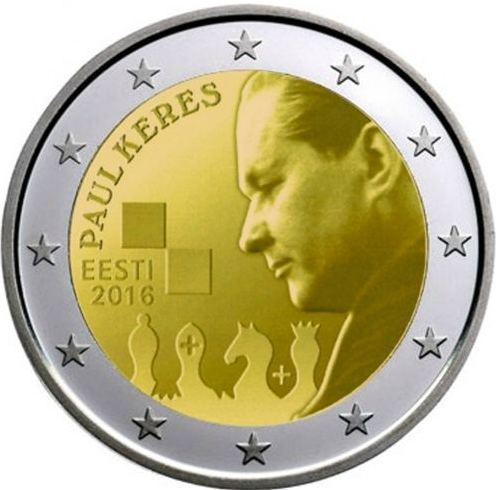 2 Euro Commemorativi Estonia 2016 Paul Keres Unc Fdc