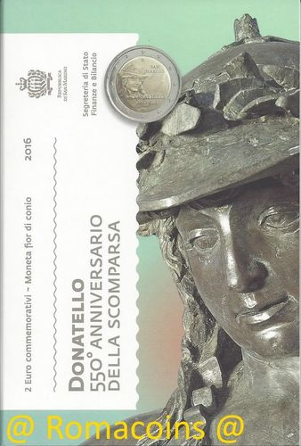 2 Euro Commemorativi San Marino 2016 Moneta Donatello
