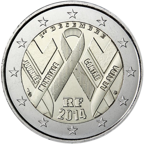 2 Euro Commemorativi Francia 2014 Moneta Aids