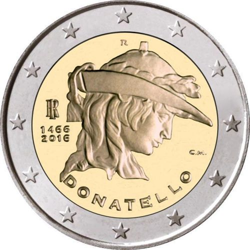 2 Euro Commemorativi Italia 2016 Moneta Donatello