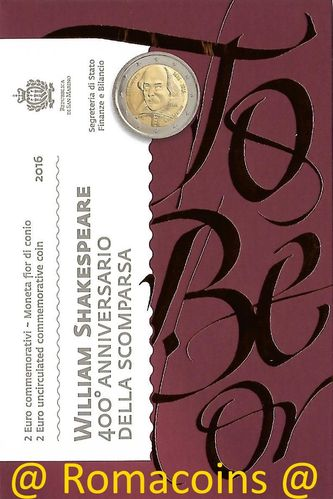 2 Euro Commemorativi San Marino 2016 Moneta Shakespeare