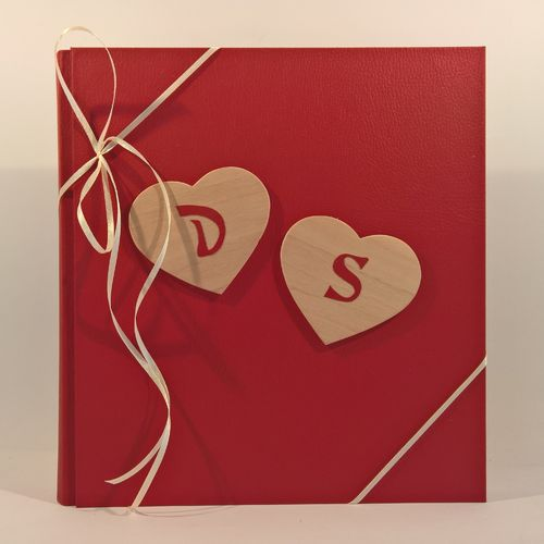 Photo album wooden hearts,initial red LEATHER