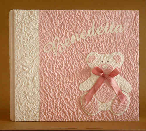 Photo album with teddy bear and pink name