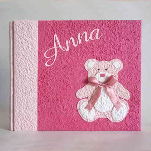 Photo album fuchsia pink teddy bear and name