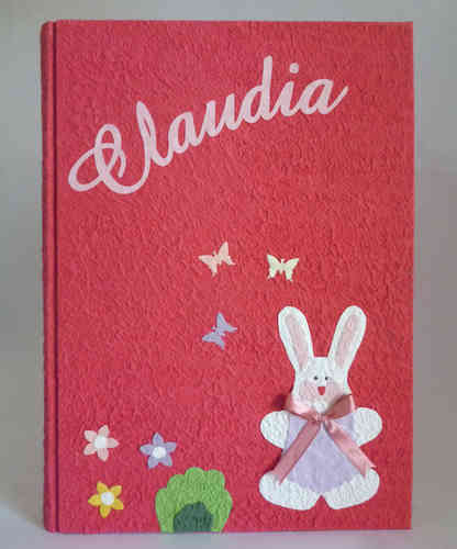 Photo album 23x32cm red bunny and name