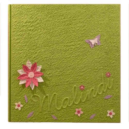 Photo album green flowers, butterflies with name