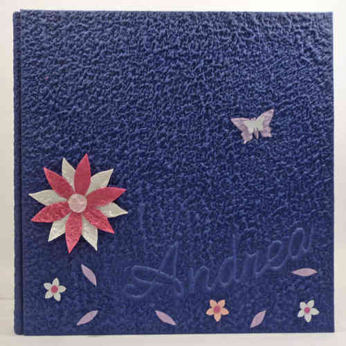 Photo album blue flowers butterflies with name