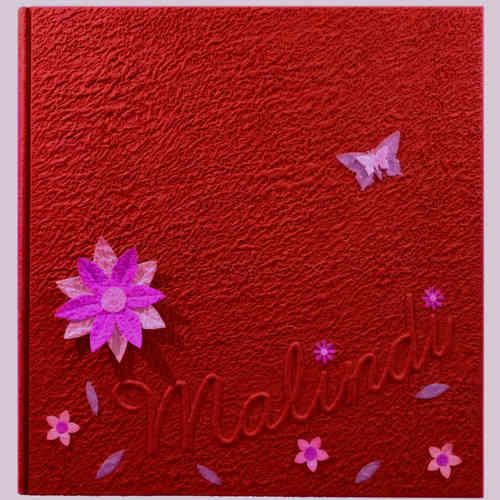 Photo album red flowers butterflies with name