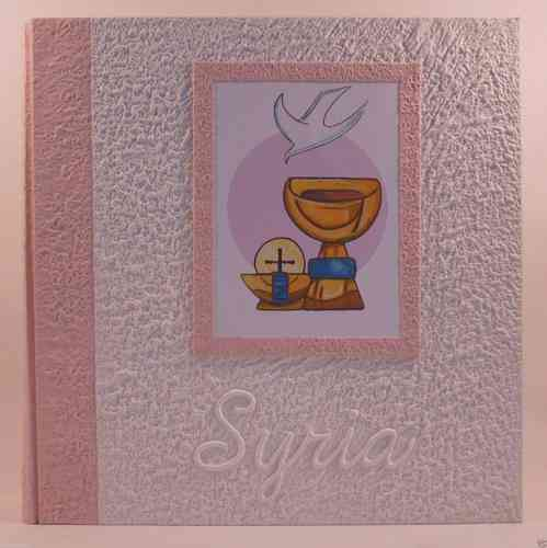 Photo album communion chalice and pink name
