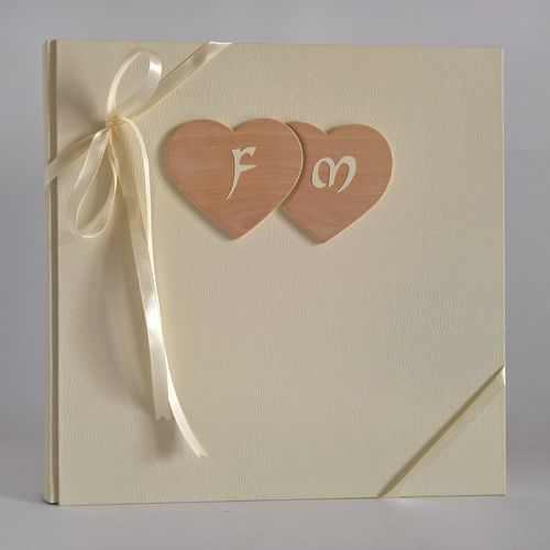Photo album wooden hearts,initial ivory