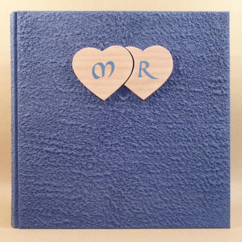 Photo album blue wooden hearts,initial