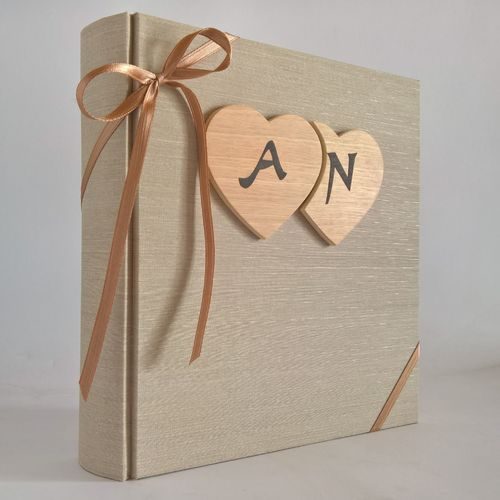 album canvas wooden hearts and initials