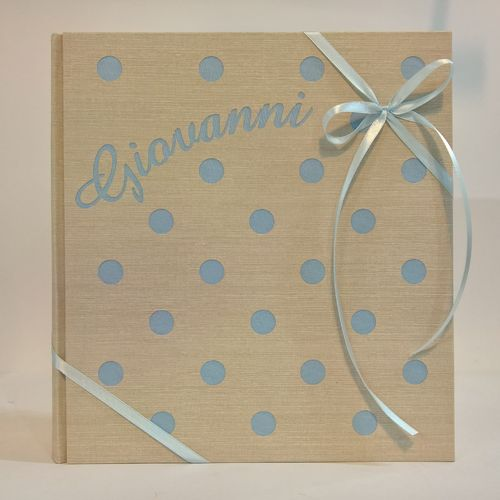 Photo album with polka dots blue with name